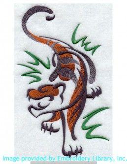 Stickmotiv Stickbild Aufnäher Stickerei Emblem Asien Tiger Tiger / Stickerei Sumi-e Tiger (F6179)