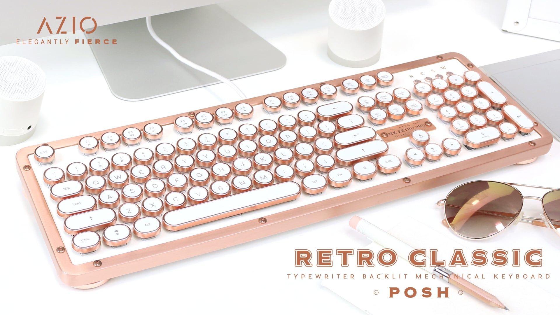 160 Usb Or 190 Bluetooth Azio Retro Classic Keyboard Posh Edition Keyboard Work Office Decor Retro