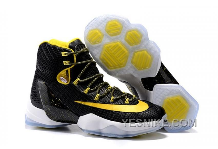 Big Discount  66 OFF 2017 Nike LeBron 13 Elite BlackYellowWhite Basketball Shoes
