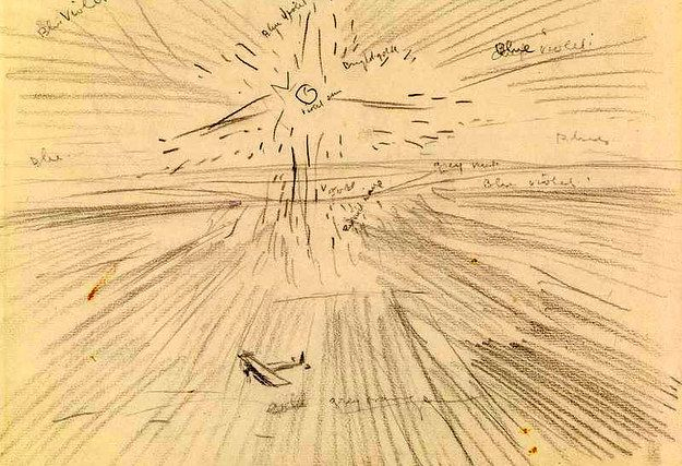 'Flying Over the Desert at Sunset, Mesopotamia, 1919', by Sydney Carline. | Extraordinary First World War Art, From Initial Sketches To Finished Paintings