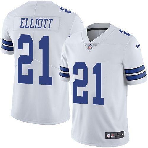 the latest c40ac 7ab8f Nike Cowboys #21 Ezekiel Elliott White Men's Stitched NFL ...