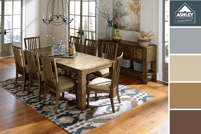 Soft Blues And Browns For The Dining Room Birnalla Dining Room Ashley Furniture Homestore Trending Decor Ashley Furniture Homestore Ashley Furniture