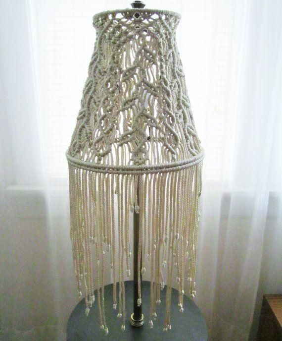 Macrame cortina de lámpara de lámpara de pie ramitas / - casa de ...