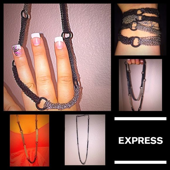 EXPRESS NECKLACE Black and silver necklace, ca be worn long or doubled up, maybe even. Bracelet? Super cute and perfect condition, make an offer :) Express Jewelry Necklaces