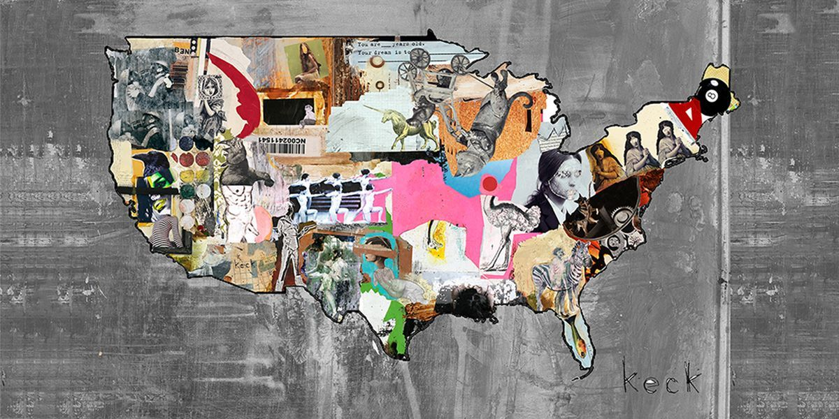 Us Map Photo Collage.Us Map Ii Canvas Art Print Art Mixed Media In 2019 Collage Art
