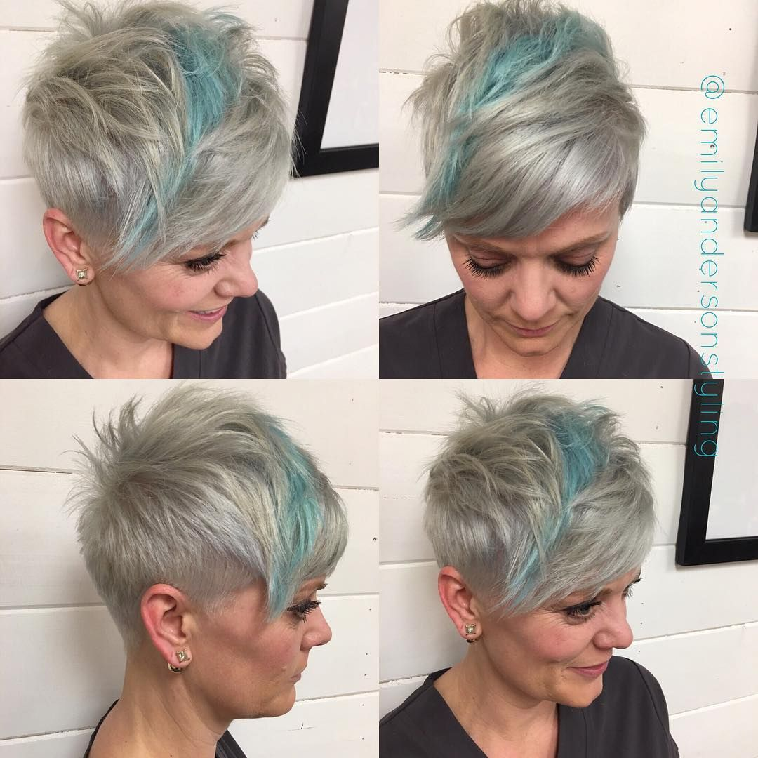 Steel and cotton candy blue for her pixie yesterday make my