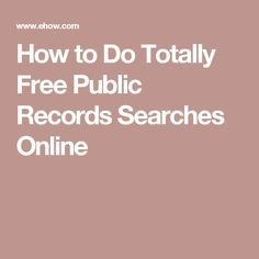 how do i find public records online for free