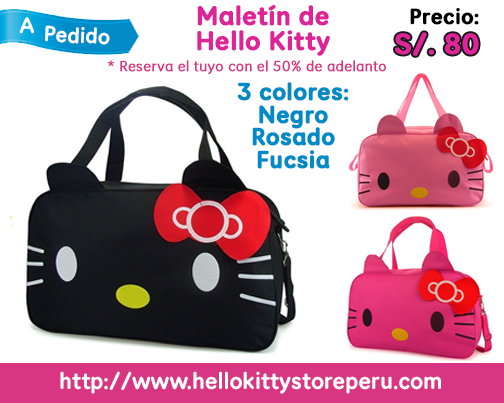 [A PEDIDO] Maletín de #HelloKitty. Haz tu pedido con el 50% de adelanto. Material: Lona. Medidas: 50cm * 31cm * 16cm. Envío gratis a Lima. Envío a provincia: S/. 10. #HelloKittyStorePeru