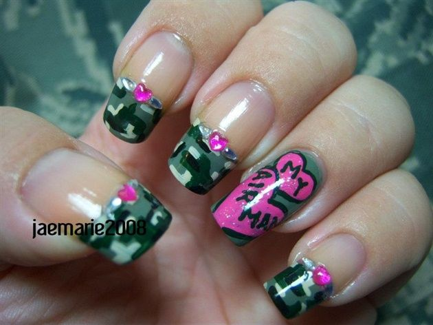 Fingernail designs - I Heart My Soldier! Nail Design - Nail Art Gallery By NAILS Magazine