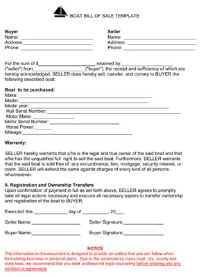 Free Bill Of Sale Template Sample For Buying Or Selling Vessel Or