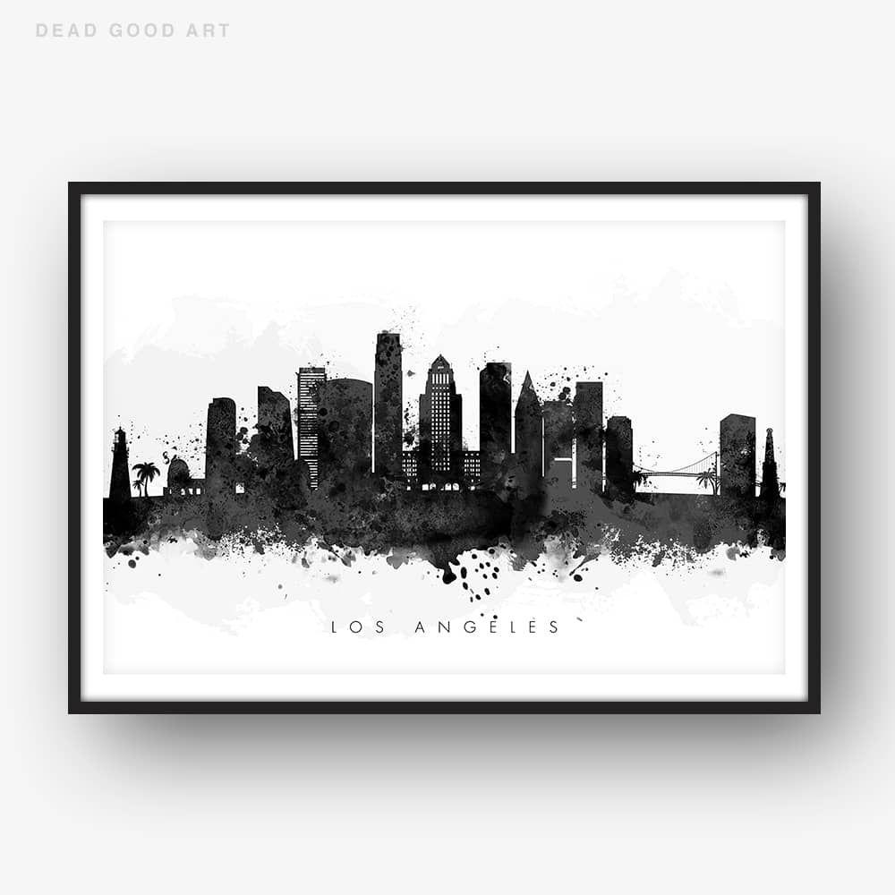 Los Angeles Skyline Black White Watercolor Print Dead Good Art Los Angeles Skyline Street Map Art City Prints