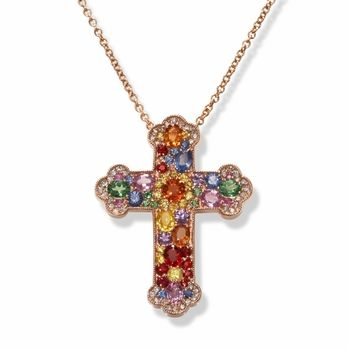 Diamond and Multi Sapphire Cross Necklace in 14k Rose Gold Jewelry