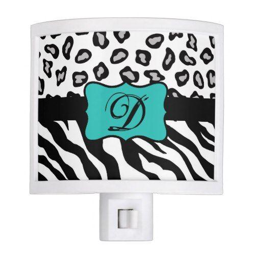 Black White Turquoise Zebra Leopard Skin Monogram Night Light