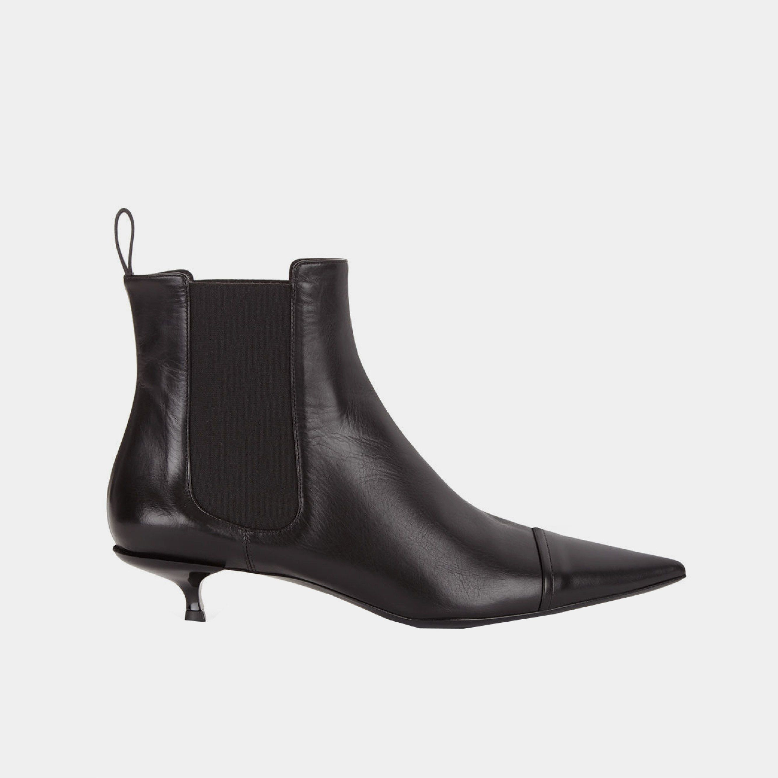 Jil Sander Black Dixie Pointed Kitten Heel Boots 392 Boots Kitten Heel Boots Kitten Heels