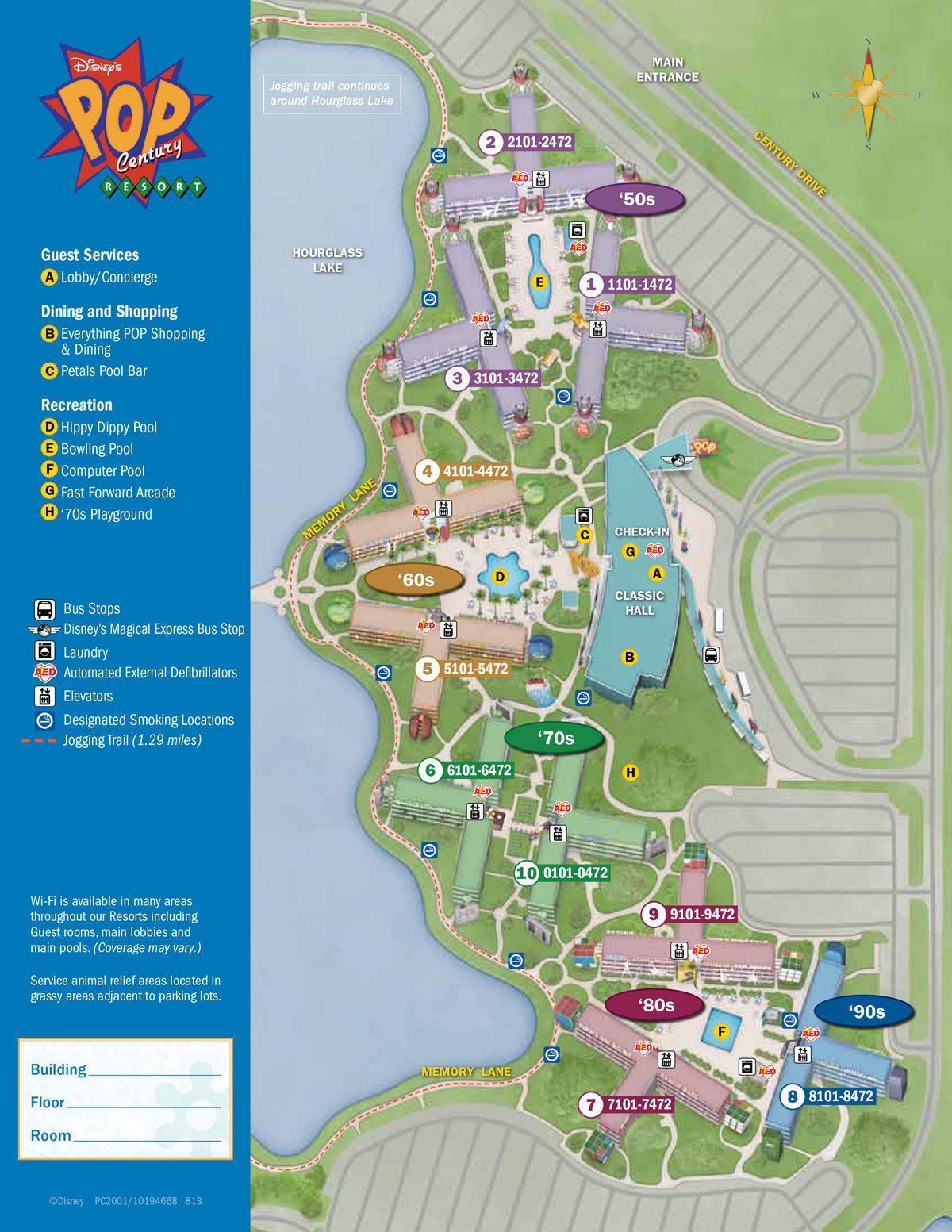 Walt Disney World Pop Century Resort Map