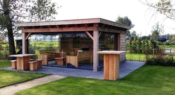 Nubuiten project buitenverblijf uitgevoerd in douglas met douglas meubels diy our - Modern prieel aluminium ...