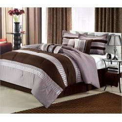 Castle Rock Brown & Silver 8 Piece Comforter Bed In A Bag Set ...