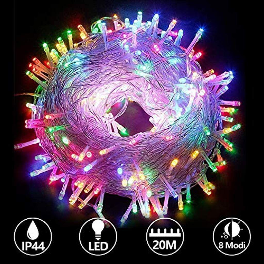 Hengda Weihnachts Led Lichterketten Bunt 20m 200leds Innen Und Im Freiengebrauch Weihnachtsschnur Lichter I Led Lichterkette Lichterkette Led Lichterkette Bunt