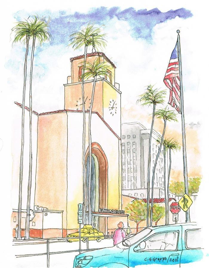 Union Station Los Angeles Ca Painting Union Station Los Angeles Ca Fine Art Print Fine Art America Unique Art Memoir Books