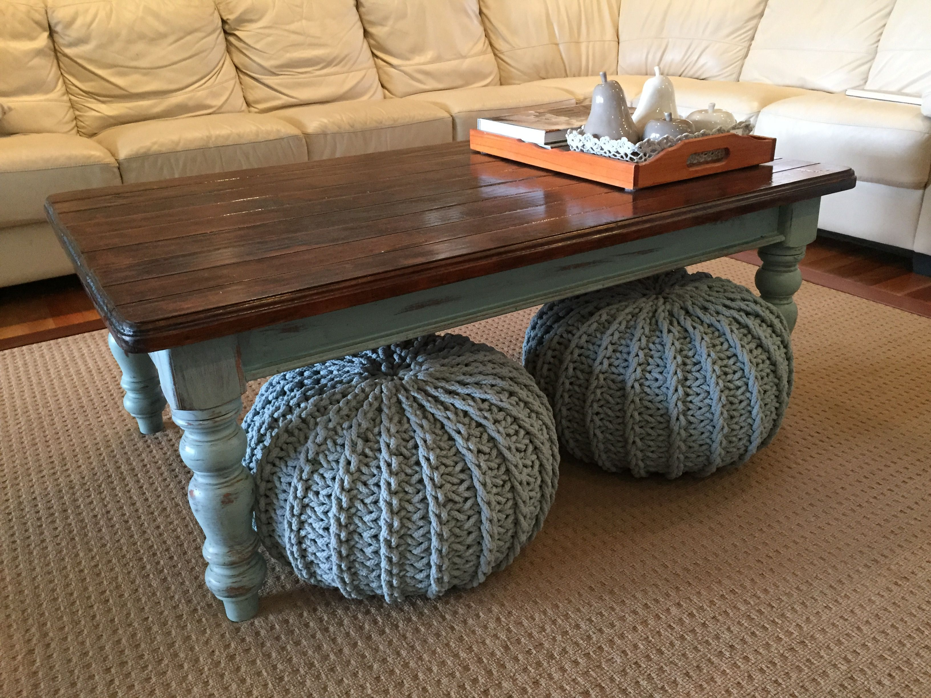 Country farmhouse style coffee table legs painted duck egg blue