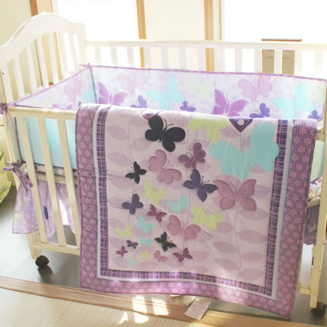 Purple 4pcs Baby Girl Crib Bedding Set Quilt Bumper Sheet Dust