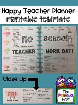 printing template for the happy planner teacher edition