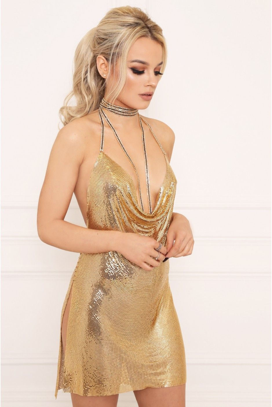 5dcdf888f5 APHRODITE Gold Chainmail Dress