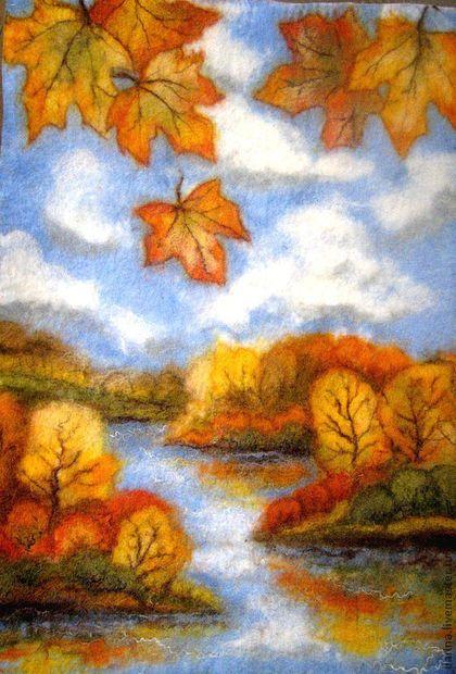 Купить или заказать Картина-шерстяная акварель 'Золотая ...