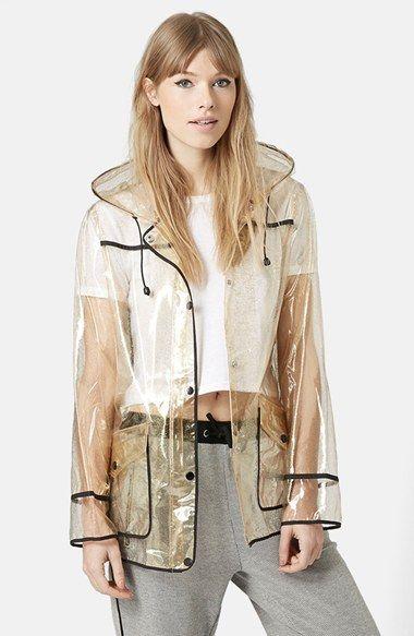 597c601d6da5 Topshop Gold Glitter Transparent Plastic Rain Jacket available at #Nordstrom