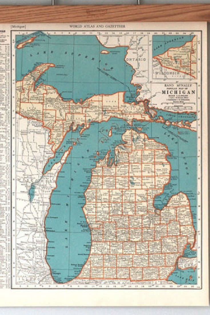 Vintage Maps of Michigan   1930s Antique U S  State Maps Wall Art     Vintage Maps of Michigan   1930s Antique U S  State Maps Wall Art   Antique  map color