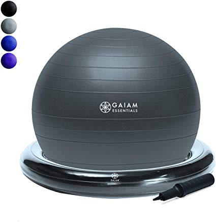 Gaiam Essentials Balance Ball Base Kit 65cm Yoga Ball Chair Exercise Ball With Inflatable Ring Base For Home Or Offic In 2020 Ball Exercises Balance Ball Yoga Ball