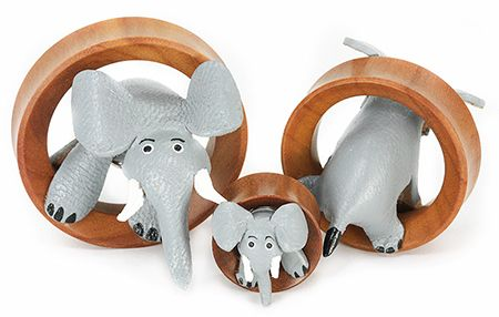 Our new Elephant Tunnels are absolutely adorable! Each of these fun 3D tunnels features a leather elephant jumping through a Saba wood tunnel. Available in sizes 20mm-50mm. Note that these elephant tunnels may vary slightly in color and size, but we do our best to match up the 2 most alike when you purchase a pair. Price: $14.99 for 1 20mm tunnel or $13.99 each when you buy 2+. Note that prices vary slightly by size.