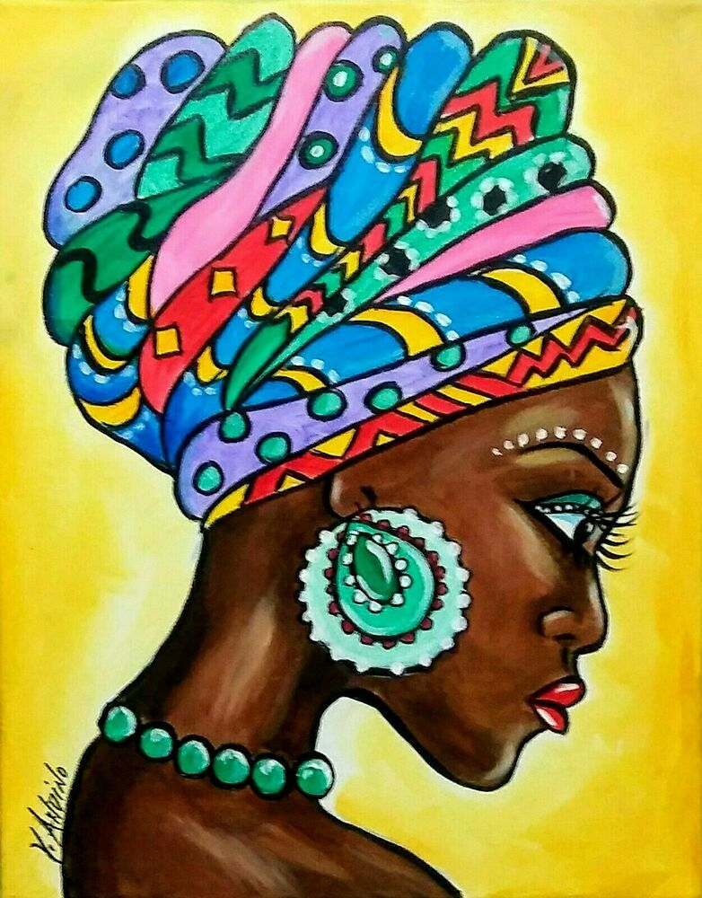 Details About Yvette Andino Art African Girl With Turban Painting