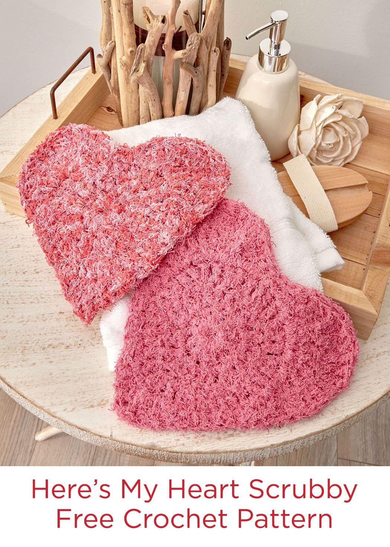 Heres My Heart Scrubby Free Crochet Pattern In Red Heart Scrubby