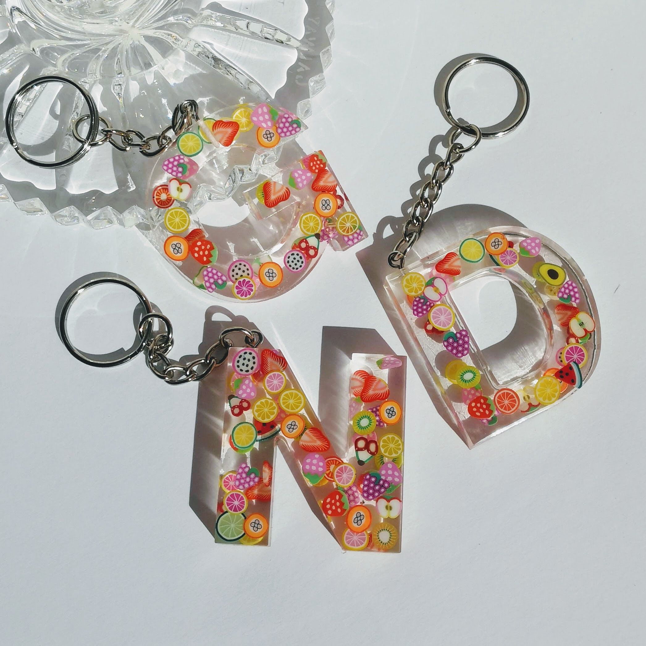 PERSONALIZED LETTER KEYCHAINS...initials and charms