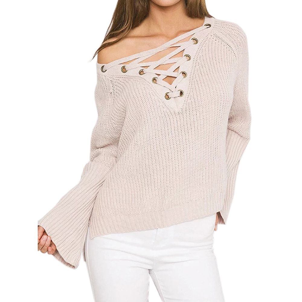 08ad768c71 2017 New Women Casual Summer V-Neck 4 Solid Color Long Sleeve Lace Up Panel  Front Tops Fashion T-Shirt WT33074