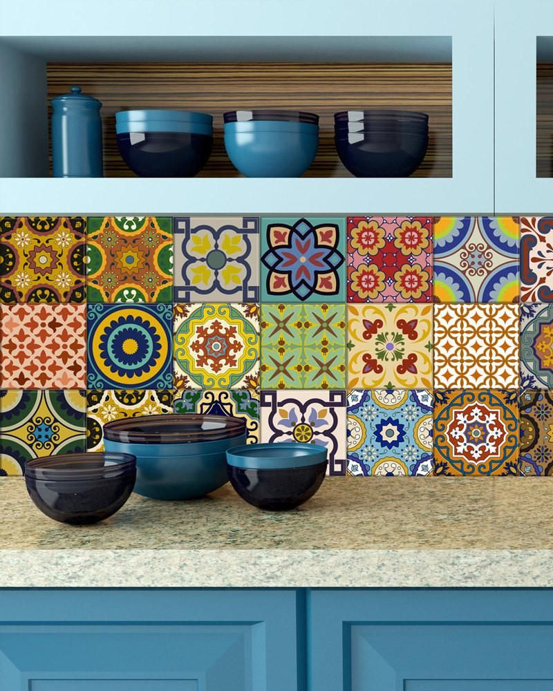 Set Of 24 Tile Square Art Decals Great Item To Decorate Your Bathroom Kitchen Flat Walls Windows What Include Traditional Spanish Retro
