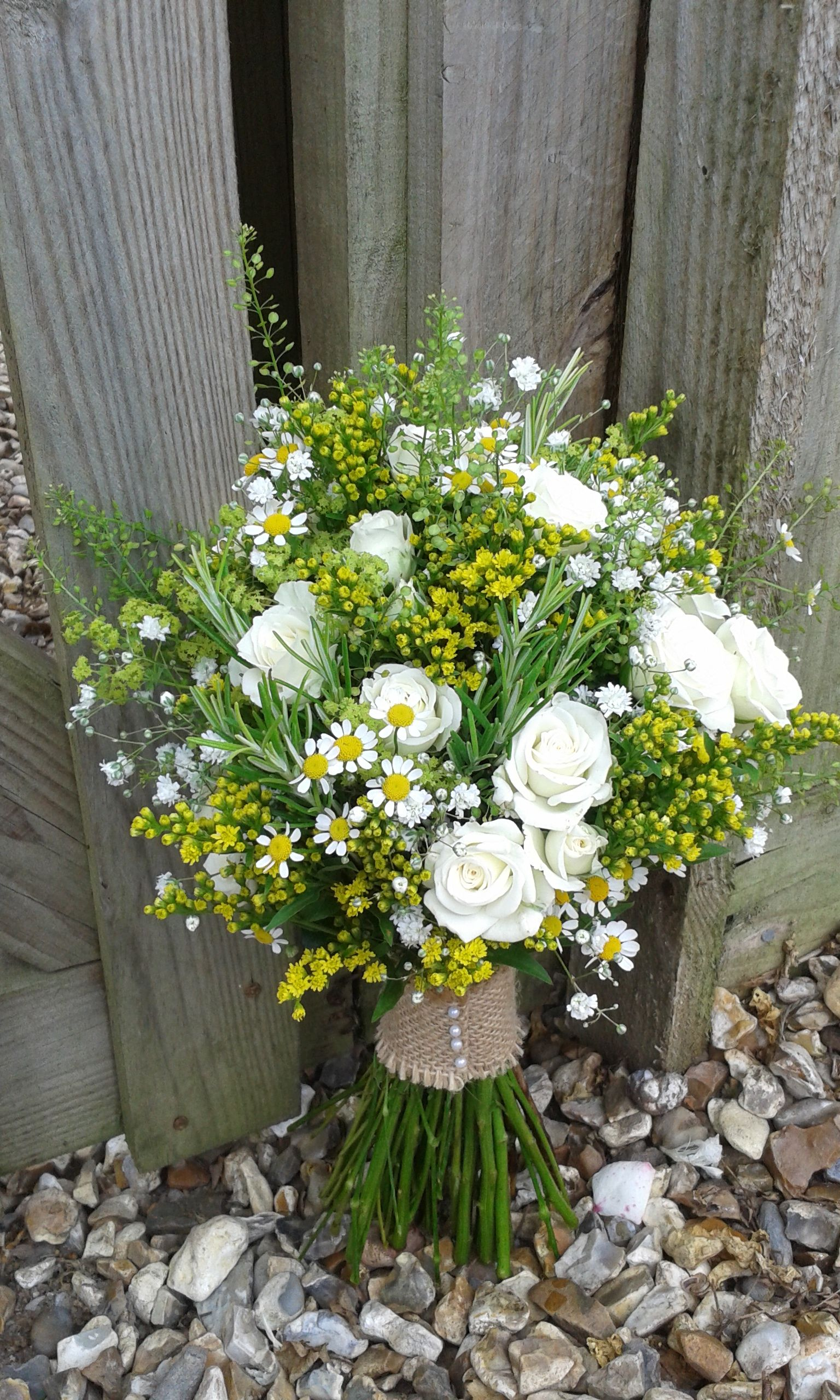 cream and yellow rustic country bridal bouquet