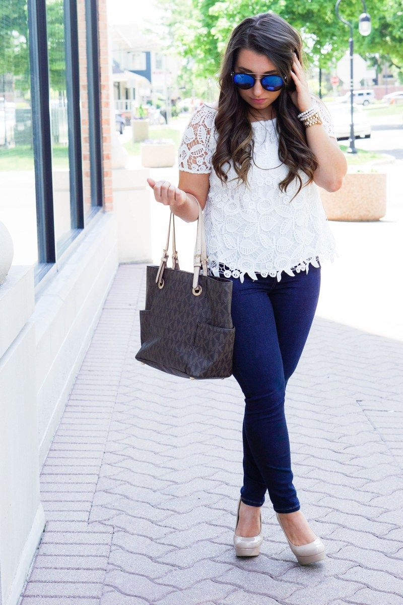 Top : Jeans : Bag : Sunnies : Watch : Shoes Can we talk about this top??? Such detail! Feminine, classic, comfortable-top three features I look for when searching for a top. Plus the color …
