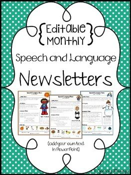 Editable Monthly Speech & Language Therapy Newsletters ...