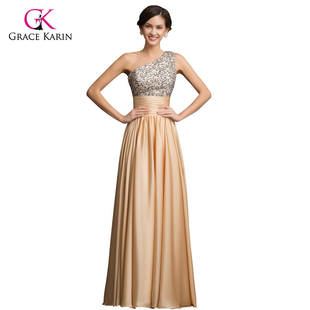 One Shoulder Evening Dress Grace Karin Sequin Gold 2017 New Arrival ...