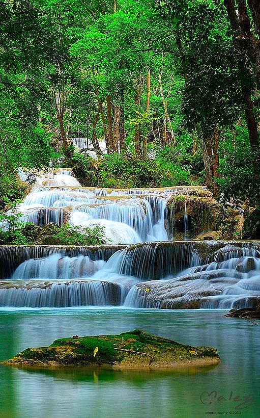 Golden Turquoise Red Roots Forest Trees Autumn Sun Rays Waterfall Tropical Sunset Beautiful Thailand Wallpaper