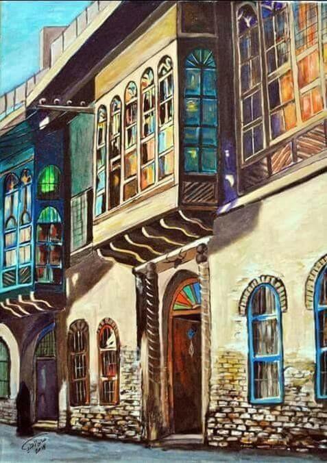 Iraqi Art By Iraqi Artist Abbas Alzahawi الفنان العراقي عباس الزهاوي من خانقين شناشيل بغدادية Arabian Art Egyptian Art Eastern Art