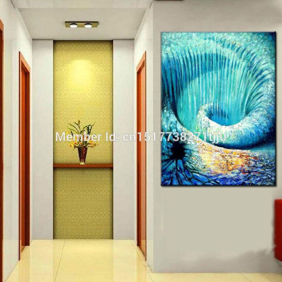 Hand painted modern picture seascape oil painting abstract blue wall ...