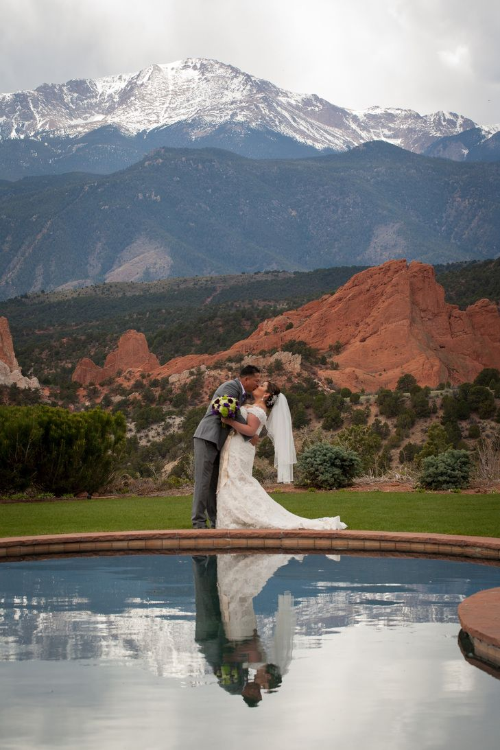 Pikes Peak And Garden Of The S Backdrop For A Colorado Destination Wedding