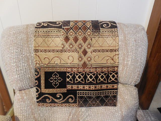 Chair Headrest Covers Ebony Gold Withtaupe Colors This