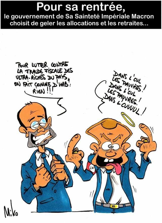 Miko (2018-08-26) France: Emmanuel Macron,  Édouard Philippe,  pauvres ....