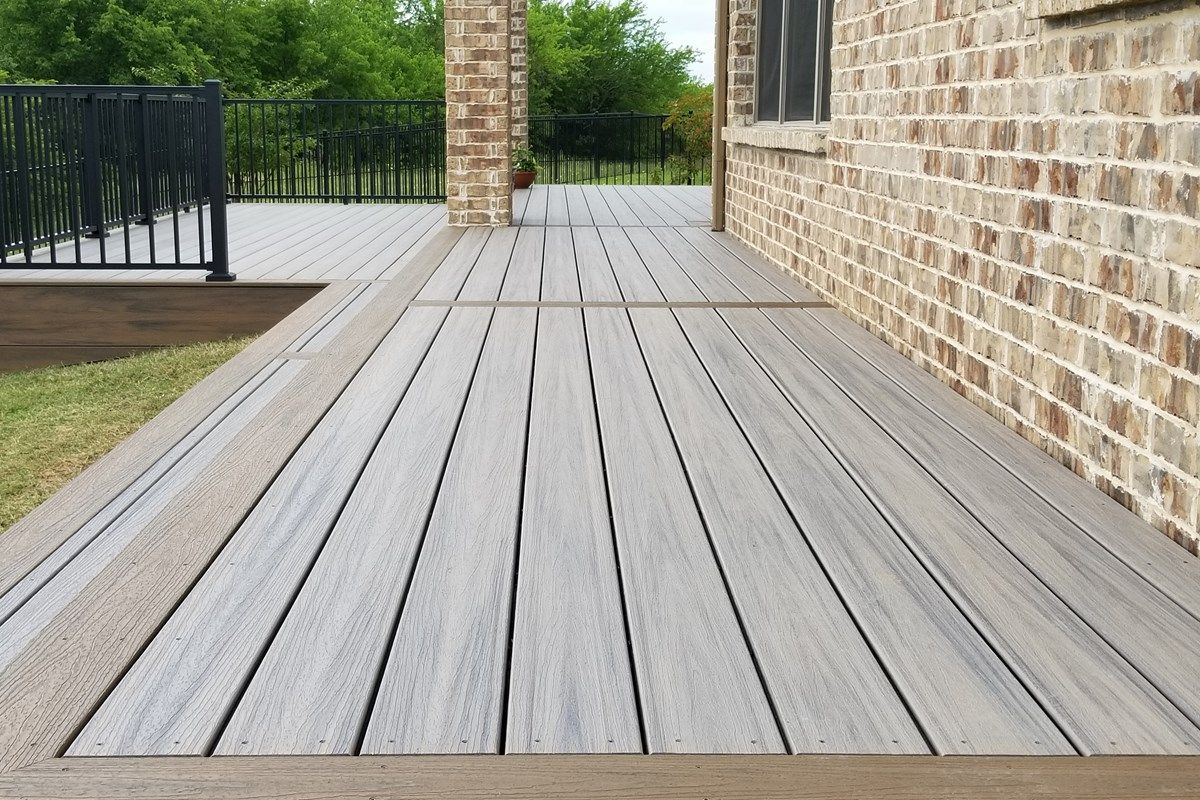 Trex Enhance Decking In Rocky Harbor And Toasted Sand Trex