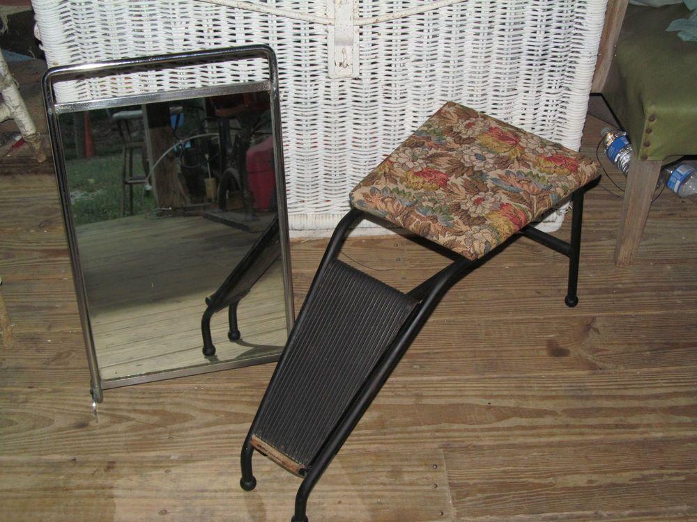Vintage Salesman Shoe Fitting Stool Foot Stool Floor Mirror