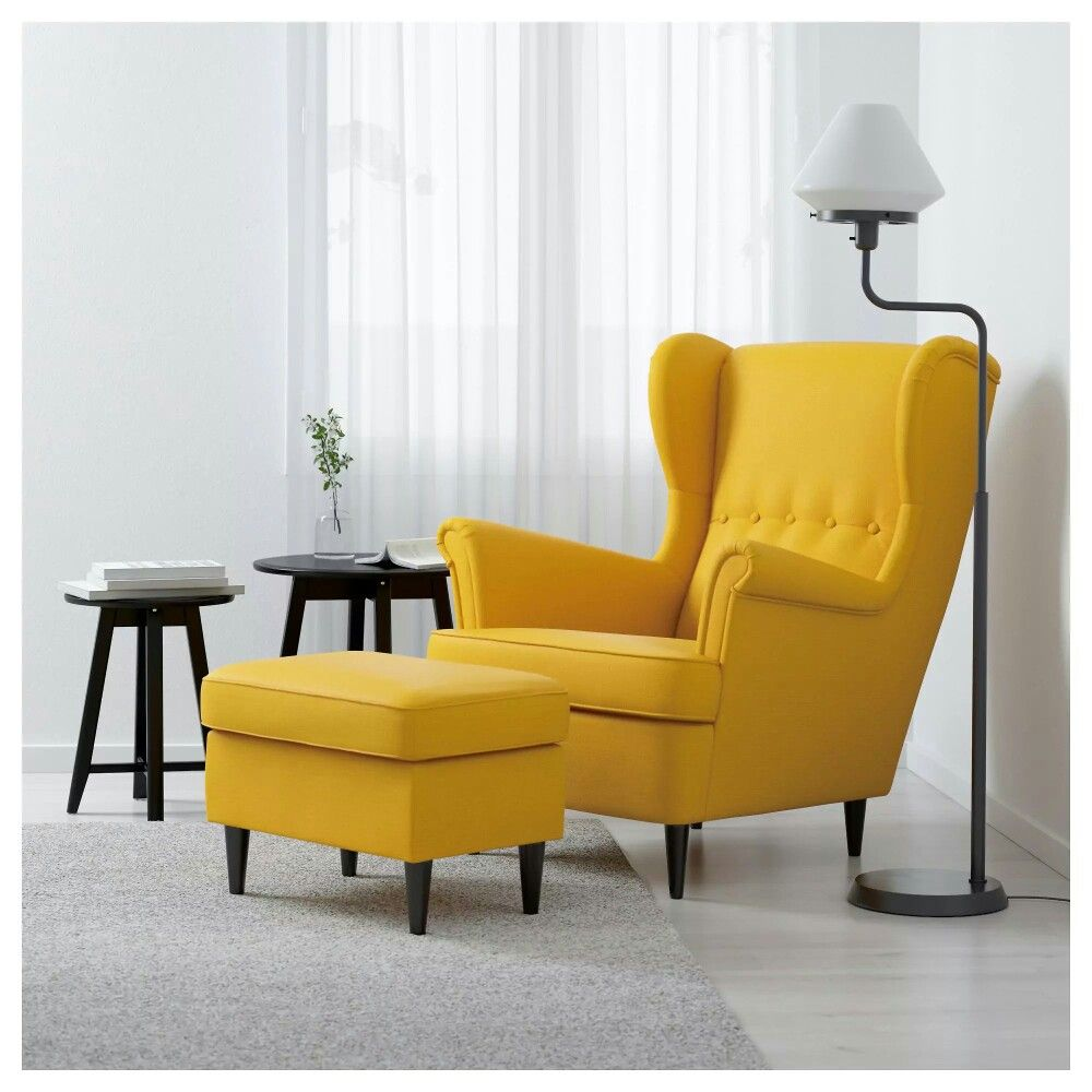 Yellow Wingback Chair In Grey Living Room Ikea